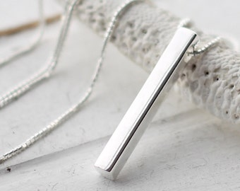 Sterling Silver Bar Necklace, 3D Vertical Bar Pendant, Modern Jewelry, Minimalist Necklace, Rectangle