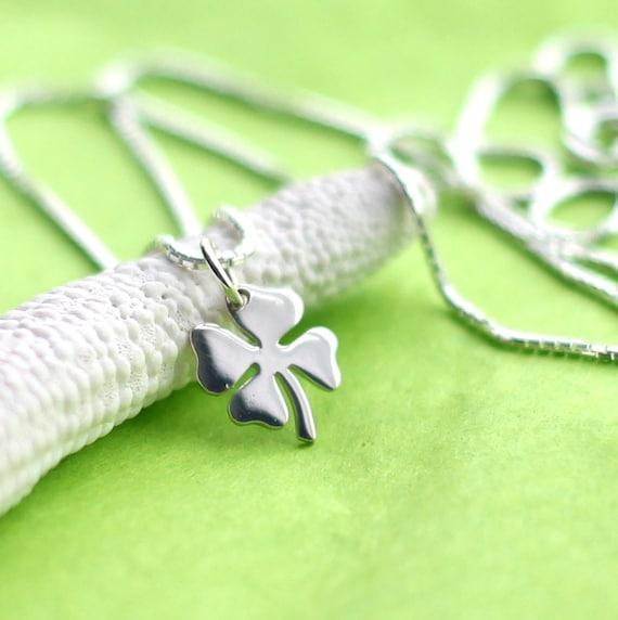 e55c239d2d262b Tiny Four Leaf Clover Necklace Festive St. Patricks Day