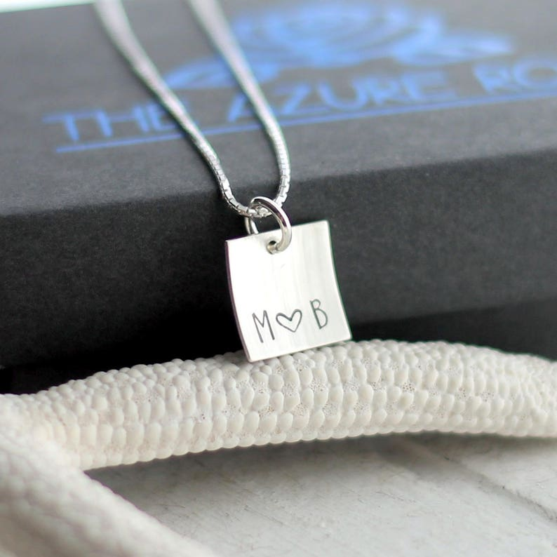 Tiny Sterling Silver Square Hand Stamped Anniversary Necklace Monogram Heart Jewelry Tiny Initials Necklace Personalized