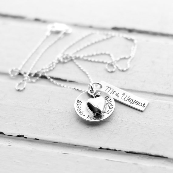 Apple Charm Love Teach Inspire Sterling Silver Disc Teacher Thank You Necklace Class Gift Hand Stamped Inspirational Necklace