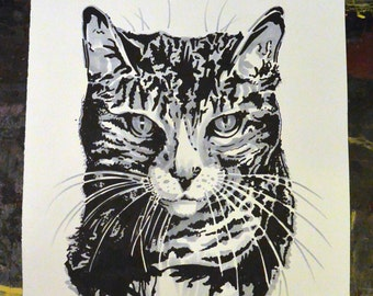 Tabby Cat Original Drawing
