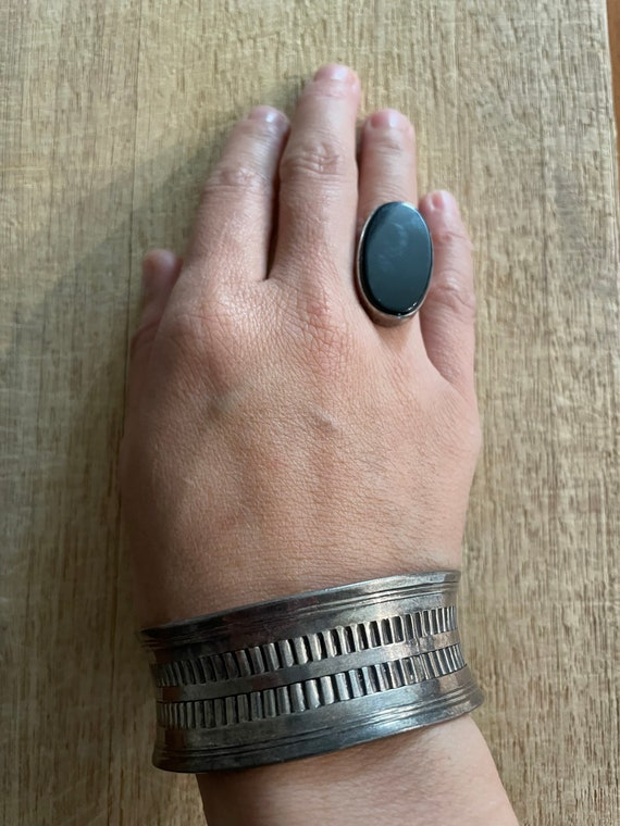 Sterling silver bracelet and onyx ring