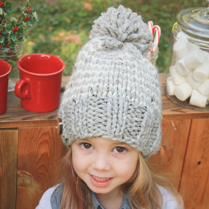 Toddler Hat with Stripes  Baby Striped Hat  Neutral Color Hat for Boy  Neutral Color Hat for Girl  Gray and White Striped Kids Hat