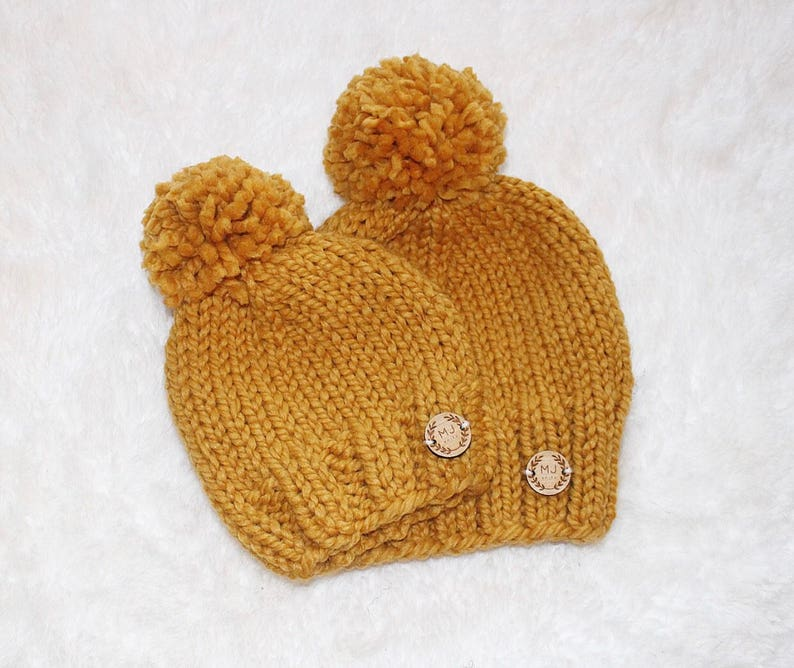 34976590 Mommy and Me Matching Knit Hats // Mustard Yellow Knit Hat for Mother and  Child // Chunky Knit Golden Winter Hat