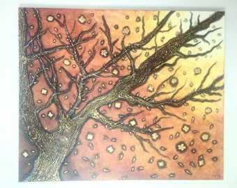 Original acrylic 3D painting Golden leaves autumn painting Large canvas Tree trunk branche Home decor Gold Black on canvas