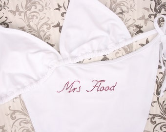 Just Married, Bride or Personalised Mrs Bikini For Your Honeymoon - Black/White/Red/Pink