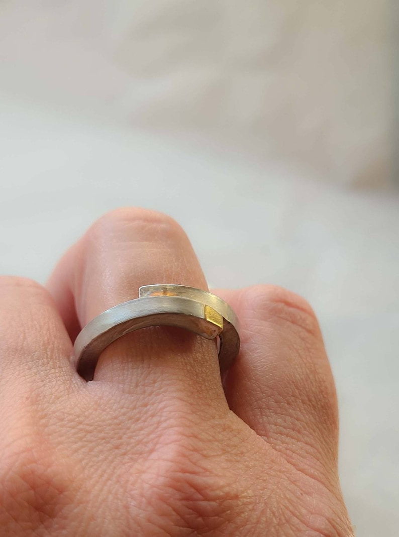 Minimalist Sterling Silver and Gold Ring Contemporary Jewelry