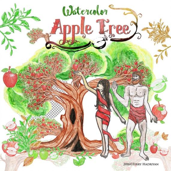 Apple Tree Clipart Watercolor Digital Clipart Fruit People ... (570 x 570 Pixel)