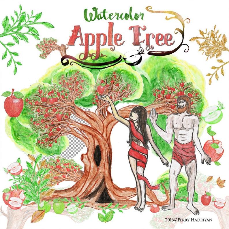 Apple Tree Clipart Watercolor Digital Clipart Fruit People Etsy