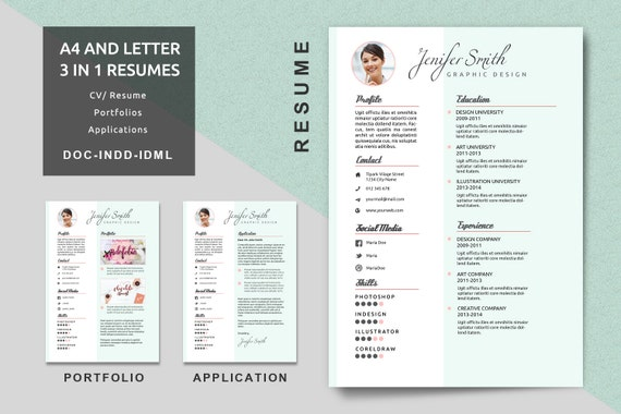 A4/Letter Creative Resume Templates Modern Resume CV Etsy