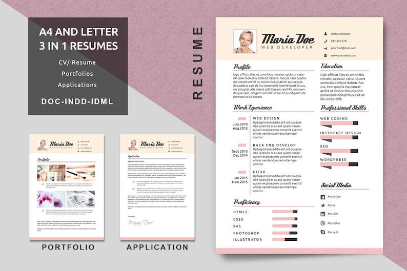 a4  letter resume templates modern resume cv template