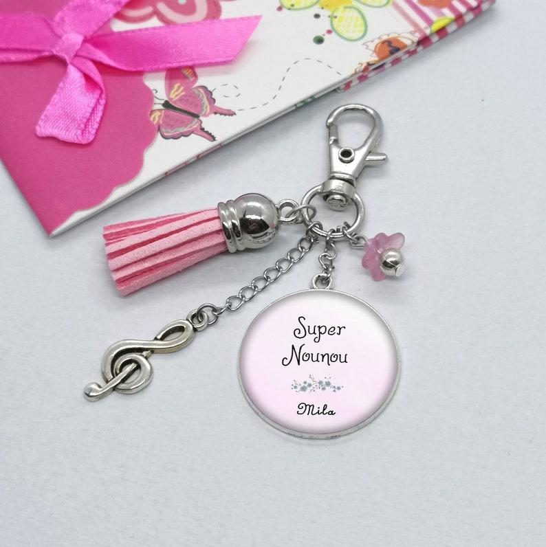 Super nanny nanny pom-pom key holder nanny gift personalized text