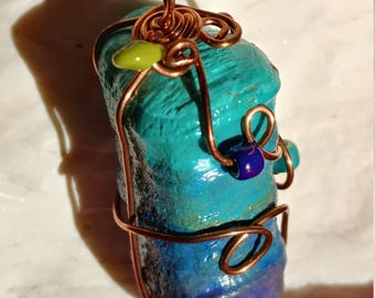 Handpainted driftwood necklace
