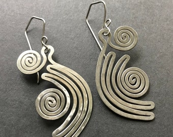 Handmade Hammered Stainless Steel Large Aztec Inspried Shape with Spiral Earrings