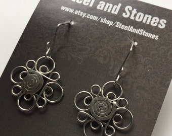 Handmade Stainless Steel Florete Filigree Earrings