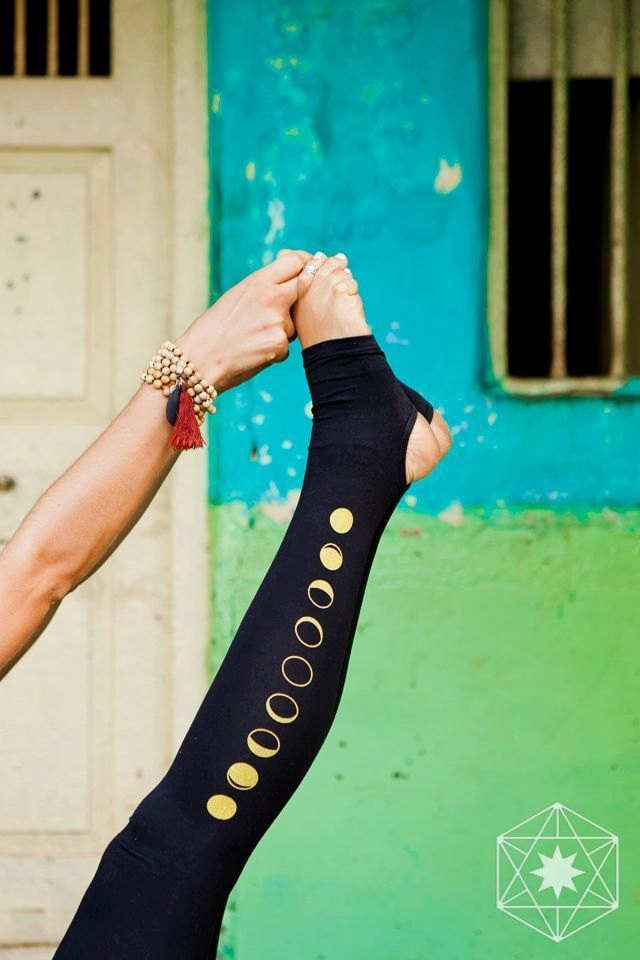 Spats, Gaiters, Puttees – Vintage Shoes Covers Moon Leggings - Black Women Yoga Pants, Second Skin Tights With Spats, Yogic Golden Moon Phase Print. Ecoluxe Wear Natural Fibers $68.25 AT vintagedancer.com