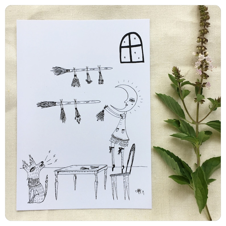 witchy print plant witch hedge witch Hanging herbs moon witch print moon witch healing herbs art print