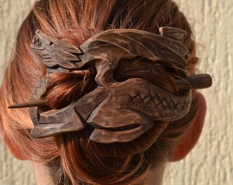 gift for women girlfriend gift womens gift for her Wood Dragon Hair Barrette, Hair Pin, Stick, Mother of Dragons, game of thrones jewelry