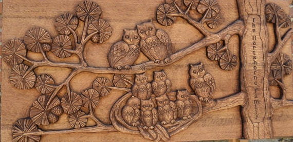 Decor wall art wood carving wall art \'\'Owls | Etsy