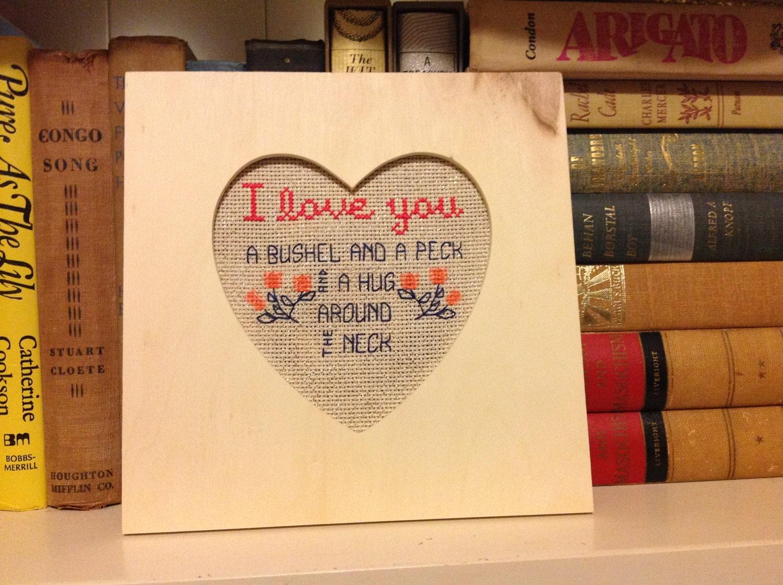 I Love You A Bushel and a Peck cross stitch PDF pattern