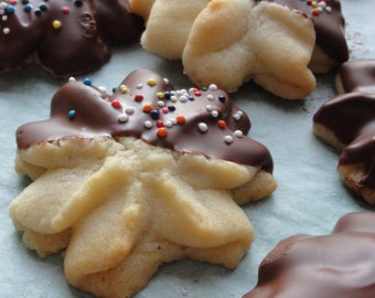 1 dozen Viennese chocolate sables dipped  cookies,chocolate dipped butter cookies, tea cookies, Viennese sables cookies