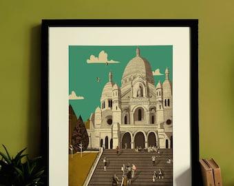 Paris Sacré-Cœur Basilica Montmatre Illustration Print A3