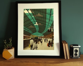 Bristol Temple Meads Train Station Illustration Poster A3