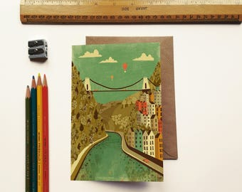 Bristol Clifton Suspension Bridge Illustration Birthday Greeting Card
