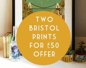 Two Bristol Prints Offer Illustration Poster A3