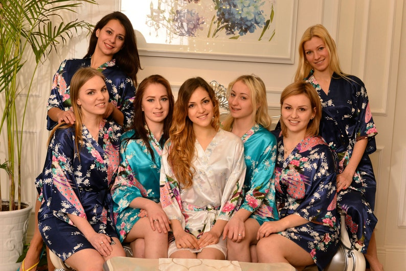 CD1 Kimono Robes Spa Robes Wedding Gifts Getting Ready Robes Bridal Party Robes Floral Robes Light Blue Ready  Robes Shower robes