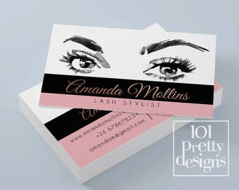 Beauty business card etsy watercolor business card rose gold printable business card design lash extension business cards lashes business card blush rose gold makeup reheart Image collections