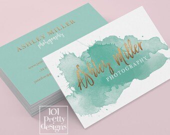 Watercolor business card template rose gold printable business etsy watercolor business card template rose gold printable business card design gold and green business cards gold foil makeup artist emerald reheart Gallery