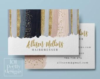 Carte De Visite Imprimables Aquarelle Design Blush Marine Or Et Rose Paillettes Maquillage Artiste Lipsense