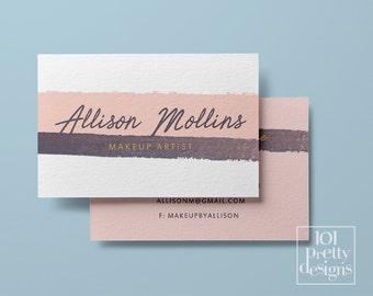 watercolor business card stripes pink printable business card design white pink business cards template custom business card makeup paint