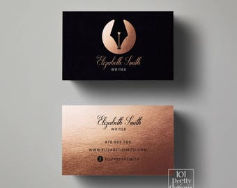 Modern business card etsy rose gold business card writer business card black gold printable business card design copywriter modern business card gold foil calligraphy colourmoves