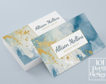 watercolor business card template gold printable business card etsy