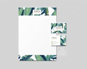 Carte De Visite Botanique Design Verdure Imprimer Nature Marque Tropical En Tete Cosmetiques