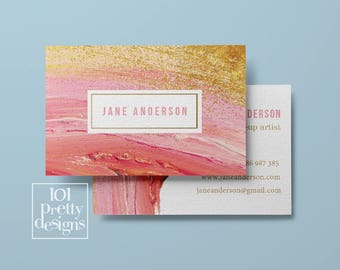 Watercolor business card template pink printable business card etsy watercolor business card design pastel printable business card design gold and pink business cards pinted busienss card gold pink makeup reheart Image collections