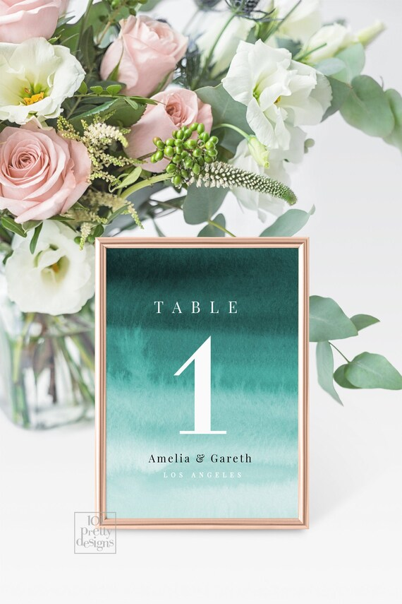 Watercolor Table Numbers Printable Table Numbers Template Emerald