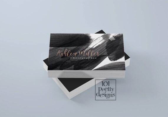 Aquarell Visitenkarte Rose Gold Folie Druckbare Visitenkarte Design Gold Und Schwarz Visitenkarten Kundenspezifische Visitenkarte Goldfolie Make Up