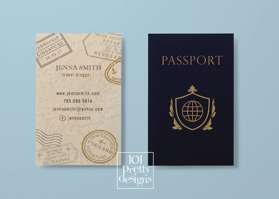 Travel business card traveller business card passport business etsy image 0 colourmoves