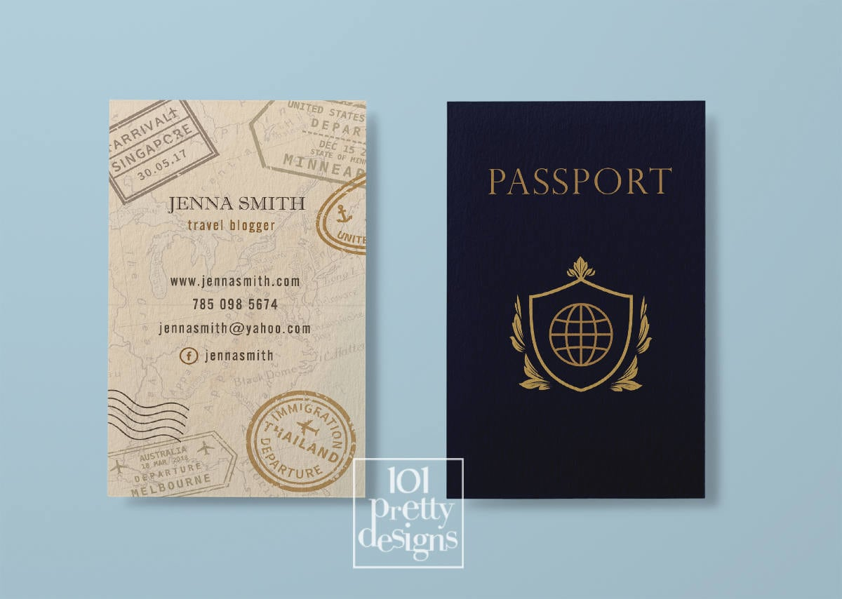 Travel business card traveller business card passport business etsy zoom colourmoves
