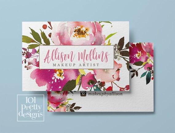 Floral Visitenkarte Entwurf Aquarell Visitenkarte Blumen Druckbare Visitenkarte Entwurf Make Up Künstler Friseur Botanische Rosa