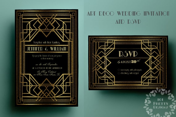Printable Art Deco Wedding Invitation Template Gatsby Rsvp Gold