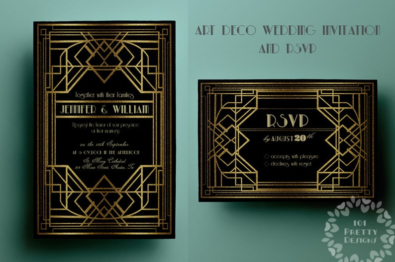 Printable Art Deco Wedding Invitation Template Gatsby Rsvp Etsy