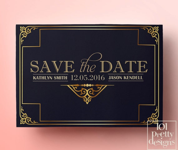 navy art deco save the date template printable save the date