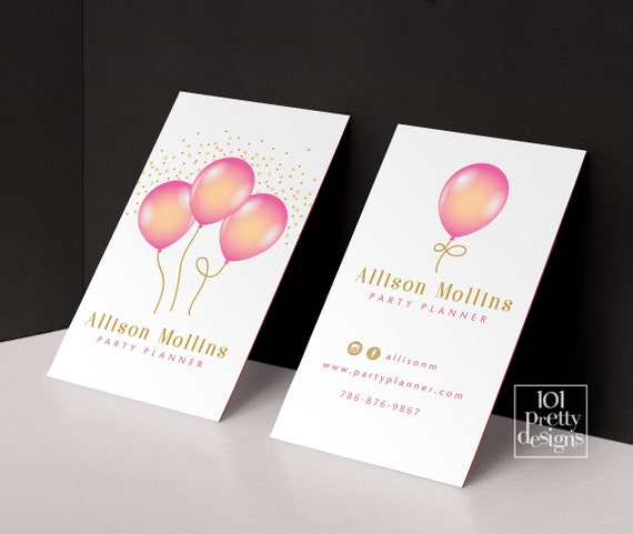 Balloons Business Cards Printable Business Card Design Party Etsy