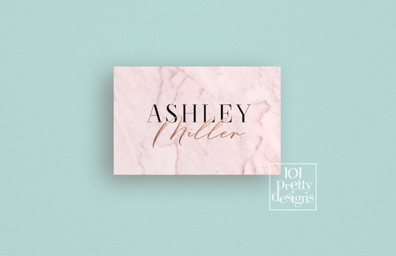 Marble Business Card Rose Gold Foil Business Card Design Printable