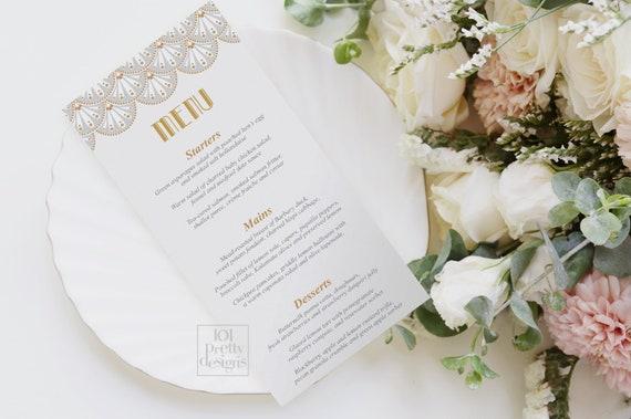 picture relating to Printable Menu Cards named Artwork deco wedding ceremony menu printable menu card tasteful marriage ceremony