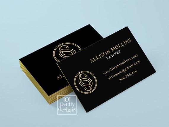 Golden Business Card Lawyer Business Card Design Black Gold Etsy